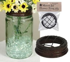 Mason Jar Flower Frog - Textured Brown - Out of the Woodwork Designs