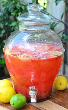Homemade Strawberry Lemon Lime Lemonade: Lemons, Limes, Strawberries, Sugar, Vanilla