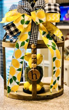 Excited to share this item from my shop: Lemon and buffalo plaid wreath bow;