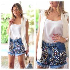 Short jeans bordado belíssimo para encerrar o dia!! ❤ #emporiumlolità #verãodesejo