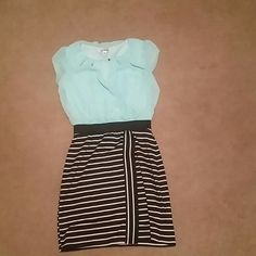 Knee length dress Worn once. Teal top with black and white strips connected to top Speechless Dresses Midi