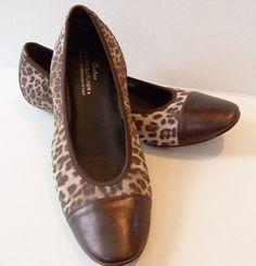 COUTURE DONALD J PLINER Leopard Brown Leather Cap Toe Ballet Flats Slippers 9.5 #DonaldJPliner #BalletFlats