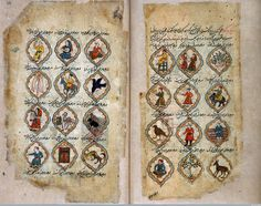Left page: Degrees 13 to 24 of Taurus (from right to left). Right page: Degrees 1 to 12 of Taurus (from right to left) from [Wellcome MS Persian 373] Nujum al-'Ulum 'Stars of Sciences' copied from an earlier work (dated AD 1575), which was probably commissioned by 'Ali' Adil Shah II of Bijapur in India.