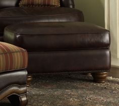 Tuscano All Leather Chair Ottoman | AICO | Home Gallery Stores