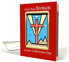 From Sponsor on Confirmation, Cross, Dove, Red, Congratulations card