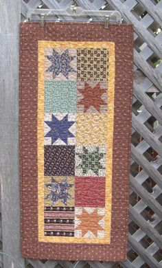 Fall Color Autumn Americana Star Quilted Table Runner by Tafhar