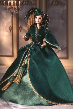 Barbie® Doll as Scarlett O'Hara (Green Drapery Dress).  Only Scarlett O'Hara could look stunning draped in lush green billows of fabric that once hung as curtains. Her ensemble is accented by golden trim and a matching green hat with golden trim. Sparkling emerald eyes and rooted eyelashes compliment the rich colors of the dress.