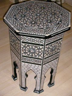 Octagon Moroccan table inlaid with mother of pearl available at Kenza Imports, 16 1/2″ x 24″ (Photo: courtesy of Kenza Imports)