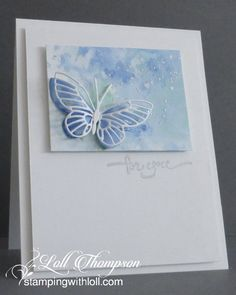 Inka Butterfly by Loll Thompson - Cards and Paper Crafts at Splitcoaststampers Sympathy Cards, Greeting Cards, Butterfly Cards, Butterfly Kit, Watercolor Cards, Butterfly Watercolor, Watercolor Background, Pretty Cards, Cricut