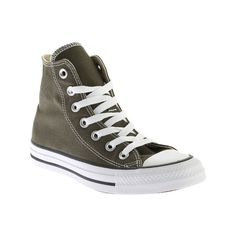 Converse Chuck Taylor All Star High Top Sneaker - Herbal/White Casual... ($42) ❤ liked on Polyvore featuring shoes, sneakers, casual footwear, casual shoes, white shoes, white hi tops, white trainers, lace up high top sneakers and converse high tops