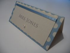 Ivory & Blue spotty theme wedding place cards