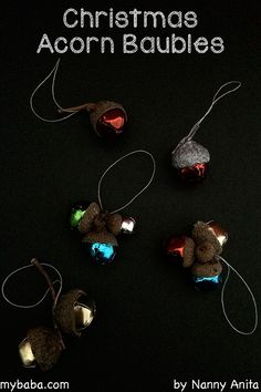 How to make christmas acorn bells. Craft for kids.