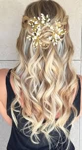 Image result for half up hair flowers