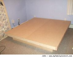 DIY Alert! Anna Sattler from DIY Life pointed me to an excellent tutorial for all of you platform-bed-lovers on a budget. Self-taught woodworking guru John tells us how to do it right here: MATERIALS:   2 x 4 x 96 - 10 pieces ($2.11 ea) 2 x 10 x 8 - 6 pieces ($7.99 ea) 3/4 x 49 x 97 MDF - 2 pieces ($22.99) deck screws wood glue (optional) TOOLS: miter saw circular saw power drill/drive Step-by-step instructions can be found right here. Happy building…
