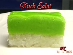 This is an awesome recipe. The only thing I changed was to cut down on the sugar.   http://wlteef.blogspot.sg/2005/10/kueh-salat.html