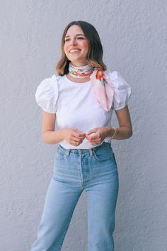 English Factory White Puff Sleeve Top from Sweet & Spark. Preppy Look, Old Shirts, Sweatshirt Dress, Square Scarf, Feminine Style, Vintage Costumes, Fashion Outfits, Clothes For Women, How To Wear