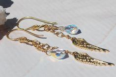 Angel Wing Earrings 24k Gold Vermeil Swarovski by ornatetreasures