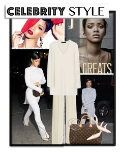 """""""Riri Owns The Tricky Trend (Rihanna- Dress over Pants)"""" by fashionengineer ❤ liked on Polyvore featuring MAC Cosmetics, STELLA McCARTNEY, Calvin Klein Collection, Louis Vuitton, Manolo Blahnik, White Label, women's clothing, women's fashion, women and female"""