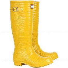 Jimmy Choo Croc Print Rubber Wellington Boots