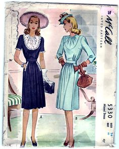 Vintage 1943 McCall 5330 Sewing Pattern by SewUniqueClassique