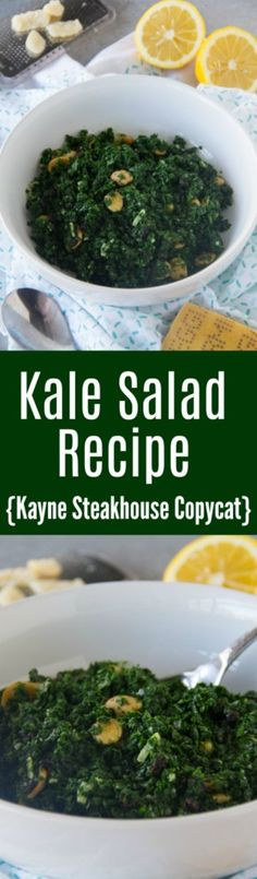 This nutritious kale salad recipe combines currants, Marcona almonds, Parmesan, lemon, extra virgin olive oil and is sure to please. Cookbook Recipes, Real Food Recipes, Cooking Recipes, Healthy Recipes, Drink Recipes, Delicious Recipes, Cooking Tips, Yummy Food, Kale Salad Recipes