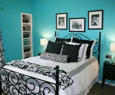 images about aqua black and white bedroom ideas on - Blue And White Bedroom Designs