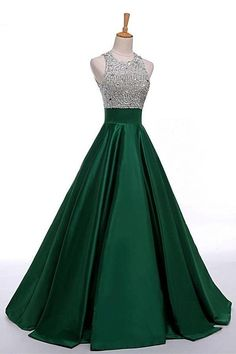 O-neck A-line Green Long Silver And Green Satin Beaded Prom Dresses Z0398