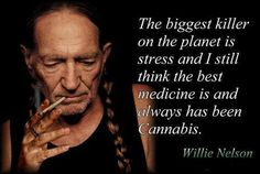 The biggest killer on the planet is stress and I think the best medicine is and always has been cannabis ~ Willie Nelson  Hell yeah - you go Willie