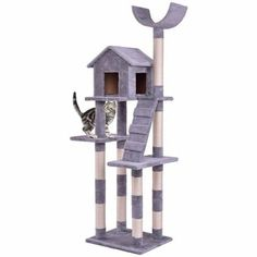 Goplus Cat Tree Wood Condo Tower Scratching Posts Pet Kitten Furniture Play House with Ladder Modern Cat Climbing Tree Cat Tree Condo, Cat Condo, Cat Lover Gifts, Pet Gifts, Pet Lovers, Cat Climbing Tree, Condo Furniture, Wooden Furniture, Furniture Scratches
