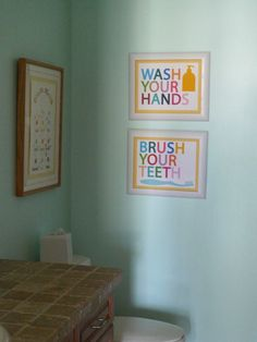 "Bathroom wall art for the kids' bathroom - ""Wash Your Face"" and ""Brush Your Teeth"""