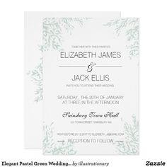 Elegant Pastel Green Wedding Invite + monogram