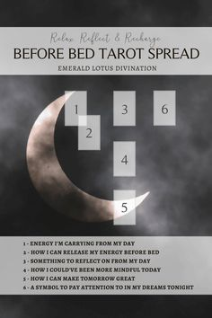 A night time tarot spread to do before bed. For more free tarot spreads visit: www.emeraldlotus.ca