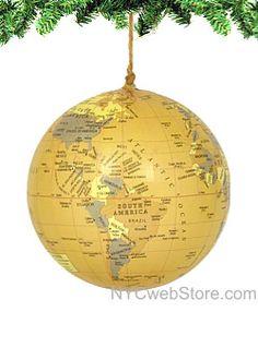 NYCwebStore.com - World Globe Ornament - Antique Yellow, $11.99 (http://www.nycwebstore.com/world-globe-ornament-antique-yellow/)
