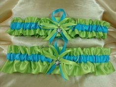 Apple Green and Turquoise Wedding Garter Set with by StarBridal, $29.95