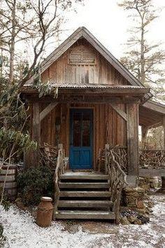 cabin with blue door