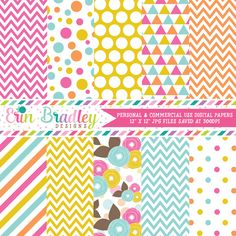 Pink Orange Yellow Blue Floral Digital Paper Pack – Erin Bradley/Ink Obsession…