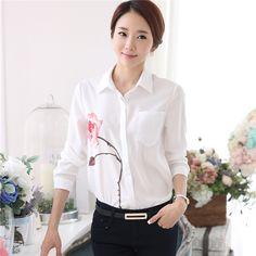 Cheap Impresión Floral mujer blusas 2015 otoño largo de la manga chemise femme blanco de gran tamaño blusas feminino S 2XL, Compro Calidad Blusas y Camisas directamente de los surtidores de China:  Tamaño: S M L XL 2XL