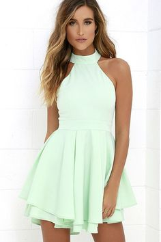 Dress Rehearsal Mint Green Skater Dress at Lulus.com! <3<3<3