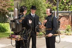 Detective Murdoch (Yannick Bisson, centre) finds Constables Crabtree (Jonny Harris, left) and Higgins (Lachlan Murdoch, right)
