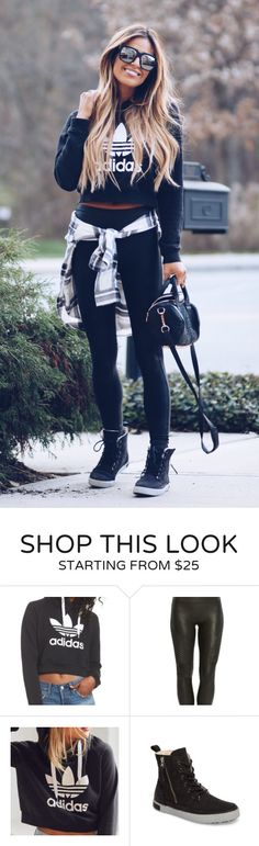 #fall #outfits women's black Adidas long-sleeve crop-top. Click To Shop This Look.