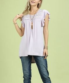 Another great find on #zulily! Orchid Lace-Yoke Flutter-Sleeve Tunic - Women & Plus #zulilyfinds