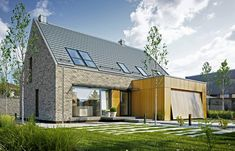 Ready-made, eco-friendly and modern prefabricated houses. Wooden House Design, Bungalow House Design, Facade Design, Küchen Design, Best Barns, Brick Architecture, Prefabricated Houses, Energy Efficient Homes, Modern Barn