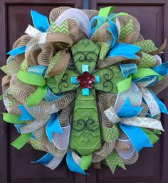 Hey, I found this really awesome Etsy listing at http://www.etsy.com/listing/180366853/cross-wreath-easter-wreath-everyday