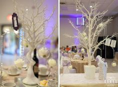 Beautiful white trees with globes, crystals and roses Got Married, Getting Married, White Trees, Globes, Our Wedding, Decor Ideas, Joy, Table Decorations, Crystals