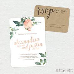Vintage Floral Wedding Invitation Suite by PrintsForEvents