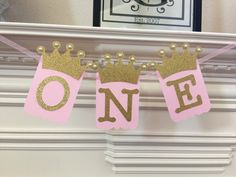 Princess party decor High chair Banner Pink and gold by Craftytude
