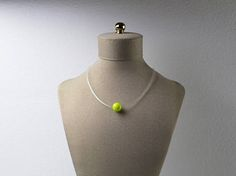 Ceramic Bead Clear Necklace Green/Yellow Ceramic Bead