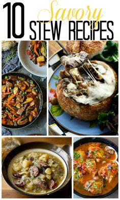 I can't imagine anything better than a hearty robust stew this time of year. I've put together 10 Savory Stew Recipes that will warm the heart. Slow Cooker Recipes, Crockpot Recipes, Soup Recipes, Dinner Recipes, Cooking Recipes, Healthy Recipes, Dinner Menu, Chili Recipes, Soup And Salad