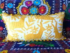 Yellow Otomi Pillow sham - - Hand embroidery - Wholesale Special - off - Yellow Pillow Sham Pillow case Pillowcases & Shams, Pillow Shams, Pillow Cases, Yellow Pillows, Throw Pillows, Early Black Friday, Hand Embroidery, Decorative Pillows, Artisan