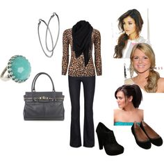 A fashion look from January 2012 featuring cashmere cardigans, Citizens of Humanity and black flat shoes. Browse and shop related looks. Leopard Print Cardigan, Cheetah Print, Jean Outfits, Casual Outfits, Teacher Style, Work Clothes, Cloths, What To Wear, Leggings Are Not Pants